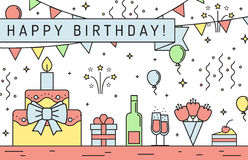 Happy birthday multicolored horizontal greeting card. Outline minimalistic design. Royalty Free Stock Photo