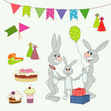 Happy birthday. With mummy , papa and gift vector illustration