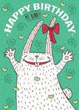 Happy Birthday my bunny with white rabbit Royalty Free Stock Photos
