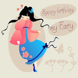 Happy birthday my fairy. cute card for girls Stock Images
