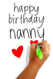 Happy birthday nanny. Girls hand holding a pen writing happy birthday nanny greeting card Royalty Free Stock Images