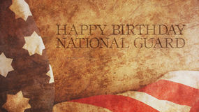 Happy Birthday National Guard. America Flag. And Wood Stock Photography