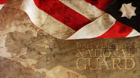 Happy Birthday National Guard. Usa Flag. And Chart on Wood Royalty Free Stock Photography