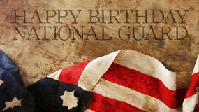 Happy Birthday National Guard. Usa Flag Waves. Happy Birthday National Guard. Usa Flag and Wood royalty free stock photo