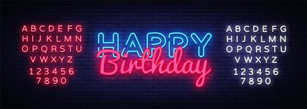 Happy Birthday Neon Text Vector. Happy Birthday neon sign, design template, modern trend design, night neon signboard Royalty Free Stock Photos