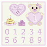 Happy birthday newborn announcement. Baby girl birthday card Gift card Birthday cake and candle  Cute baby girl bears  illustration with heart and numbers Stock Photos
