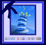 Happy birthday. Nice happy birthday greeting card with cake and abstracct elements vector illustration