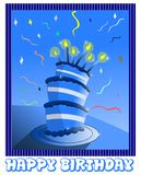 Happy birthday greeting card in blue Stock Images