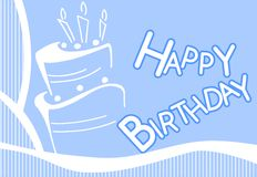 Happy birthday greeting card with cake in blue Stock Photos