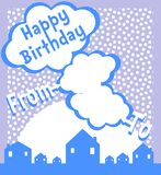 Happy birthday greeting card in blue tones Stock Photo