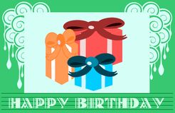 Colorful Happy birthday greeting card with gifts Royalty Free Stock Photo