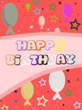Happy birthday greeting card with balloons. Nice happy birthday greeting card with hearts and gifts Royalty Free Stock Photo