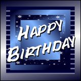 Happy birthday greeting card in blue Royalty Free Stock Photography