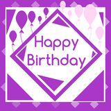 Happy birthday greeting card with balloons. Nice happy birthday greeting card with stripes and balloons Stock Photo
