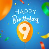 Happy birthday 9 nine year balloon party card. Happy Birthday 9 nine years fun design with balloon number and colorful confetti decoration. Ideal for party Stock Photo