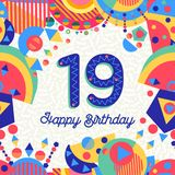 Nineteen 19 year birthday greeting card number. Happy Birthday nineteen 19 year fun design with number, text label and colorful decoration. Ideal for party Royalty Free Stock Photo