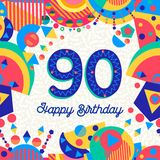 90 ninety year birthday party greeting card. Happy Birthday ninety 90 year fun design with number, text label and colorful decoration. Ideal for party invitation Royalty Free Stock Photos