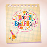 Happy Birthday note paper cartoon illustration Stock Image