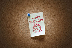 Happy birthday note Royalty Free Stock Images