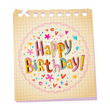 Happy Birthday notepad paper message Royalty Free Stock Photos
