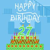 Happy Birthday 27nth old BlueCake postcard - hand lettering - handmade calligraphy. Happy Birthday 27 th old Blue Cake postcard - hand lettering - handmade Stock Photography