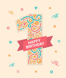 Happy birthday number 1 Greeting card for one year. Happy birthday number 1 Colorful greeting card for one year stock illustration