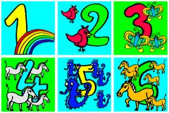 Happy birthday numbers to play and learning numbers with pictures about hobbies from 1- 6 for children part 2 vector illustration