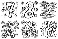 Coloring book - Happy birthday numbers to play and learning numbers with pictures about hobbies from 7-10 for kids. Happy birthday numbers to play and learning stock illustration