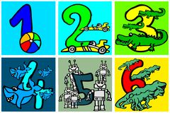 Happy birthday numbers to play and learning numbers with pictures about hobbies from 1- 6 for kids part 1 royalty free illustration
