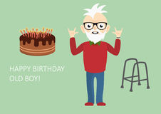 Happy birthday old boy. Funny birthday card for the still young. Vector illustration for forever young boys. Age is just a number Stock Photo
