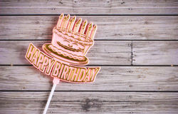 Happy Birthday On Wooden Background Royalty Free Stock Image