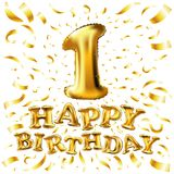 Happy birthday one. first. maiden. top. premier. Golden number 1 four made of inflatable balloon with golden ribbon isolated on wh. Golden number one 1 first Stock Image