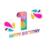 Happy birthday 1 one year paper cut greeting card. Happy Birthday one 1 year, fun paper cut number and text label design with colorful abstract hand drawn art stock illustration
