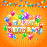 Happy birthday orange background Stock Images