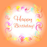 Happy birthday orange greeting card Royalty Free Stock Photography
