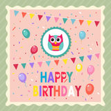 Happy Birthday Owl Stock Photography