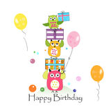 Happy birthday with owls and gift box. Baby birthday greeting card vector illustration Royalty Free Stock Photos