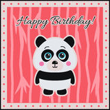 Happy Birthday! Panda on a coral background. Royalty Free Stock Images