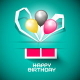 Happy Birthday Paper Card with Gift Box Stock Images