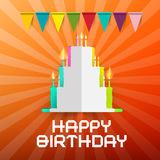 Happy Birthday Paper Cut Cake with Candlesground Royalty Free Stock Photography