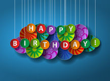 Happy Birthday. Paper cut greeting card or poster. Royalty Free Stock Images