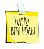 Happy birthday paper sticky note. Retro reminder sticker Stock Images