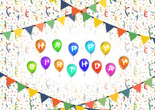 Happy birthday party background with balloons, buntings garlands and confetti. On white Stock Images