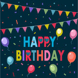 Happy Birthday. Party, birthday background with colorful flags Royalty Free Stock Images