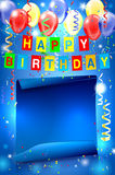 Happy Birthday party background with copy space Royalty Free Stock Images