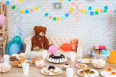 Happy birthday party. Background of the festive table. Background of the birthday. Birthday concept. Festive mood concept Stock Photo