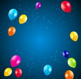 Happy Birthday Party Background with Flags and Balloons Vector Illustration Royalty Free Stock Photography