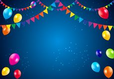 Happy Birthday Party Background with Flags and Balloons Vector Illustration Royalty Free Stock Image