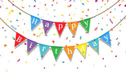 Happy Birthday party background with flags and confetti Stock Image