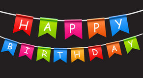Happy Birthday Party Background with Flags Vector Stock Photography